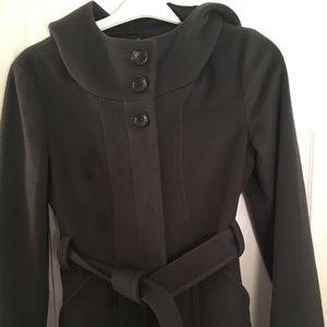 Theory gray pea coat with hood
